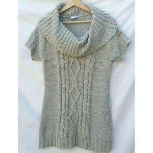 Columbia Cowl Chunky Knit Gray Tunic Sweater Large